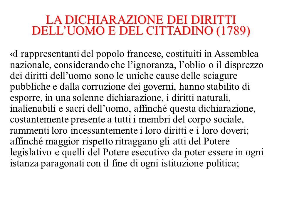 LA DICHIARAZIONE DEI DIRITTI DELL'UOMO E DEL CITTADINO (1789)