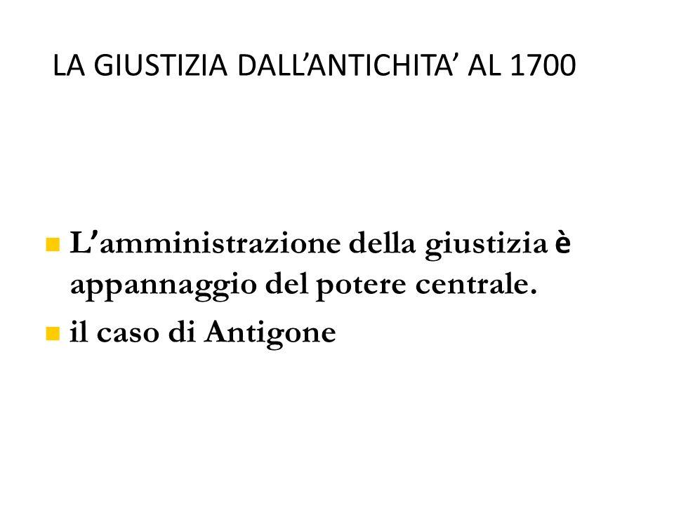LA GIUSTIZIA DALL'ANTICHITA' AL 1700