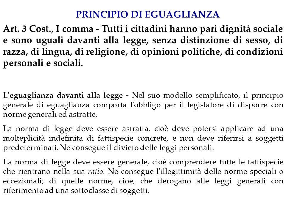 PRINCIPIO DI EGUAGLIANZA