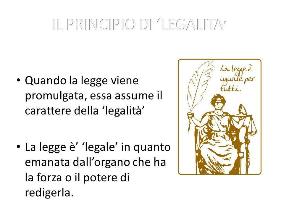 IL PRINCIPIO DI 'LEGALITA'