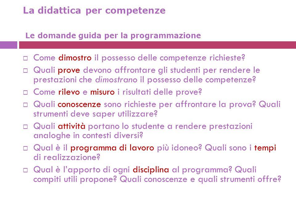 La didattica per competenze Le domande guida per la programmazione