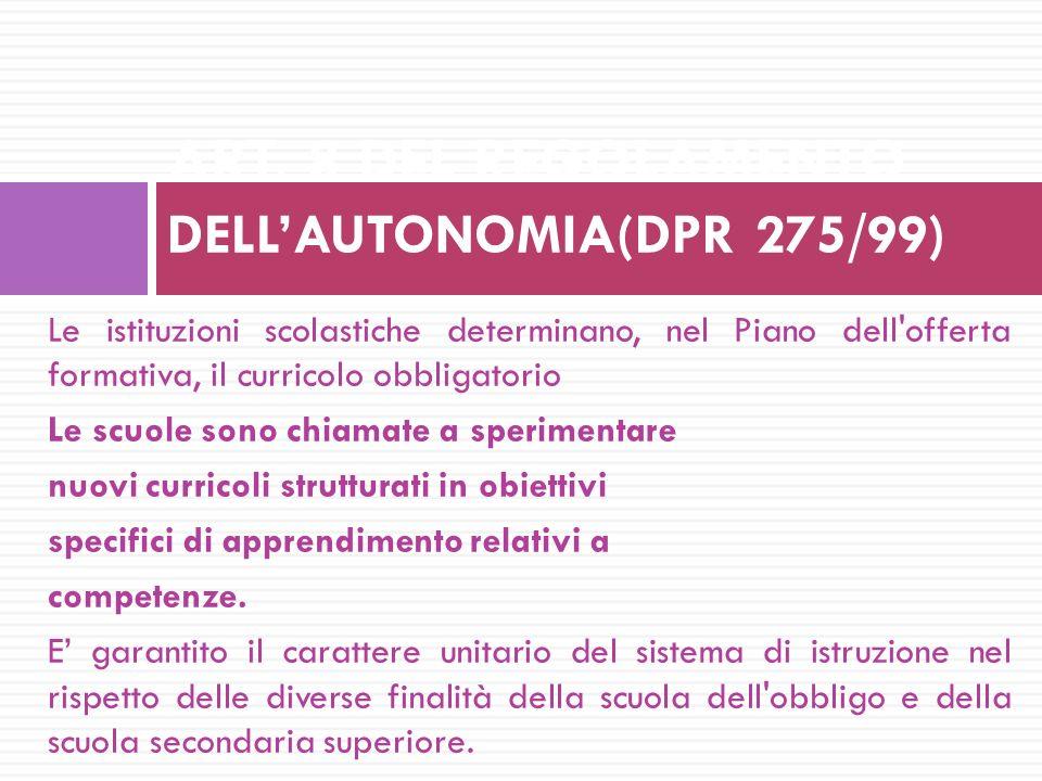 ART. 8 DEL REGOLAMENTO DELL'AUTONOMIA(DPR 275/99)