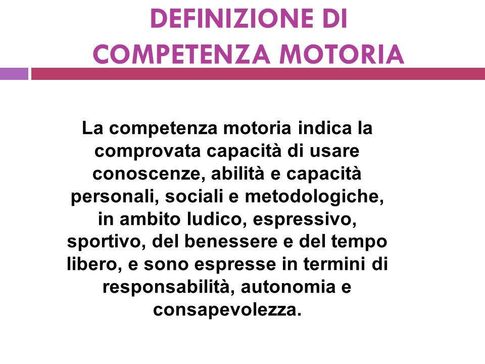 DEFINIZIONE DI COMPETENZA MOTORIA