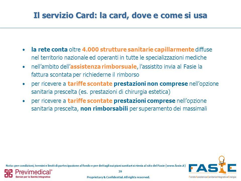 Il servizio Card: la card, dove e come si usa