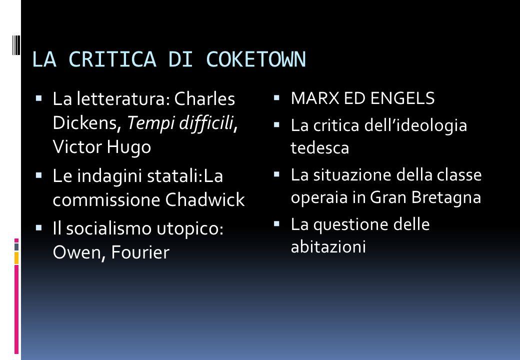 LA CRITICA DI COKETOWN La letteratura: Charles Dickens, Tempi difficili, Victor Hugo. Le indagini statali:La commissione Chadwick.