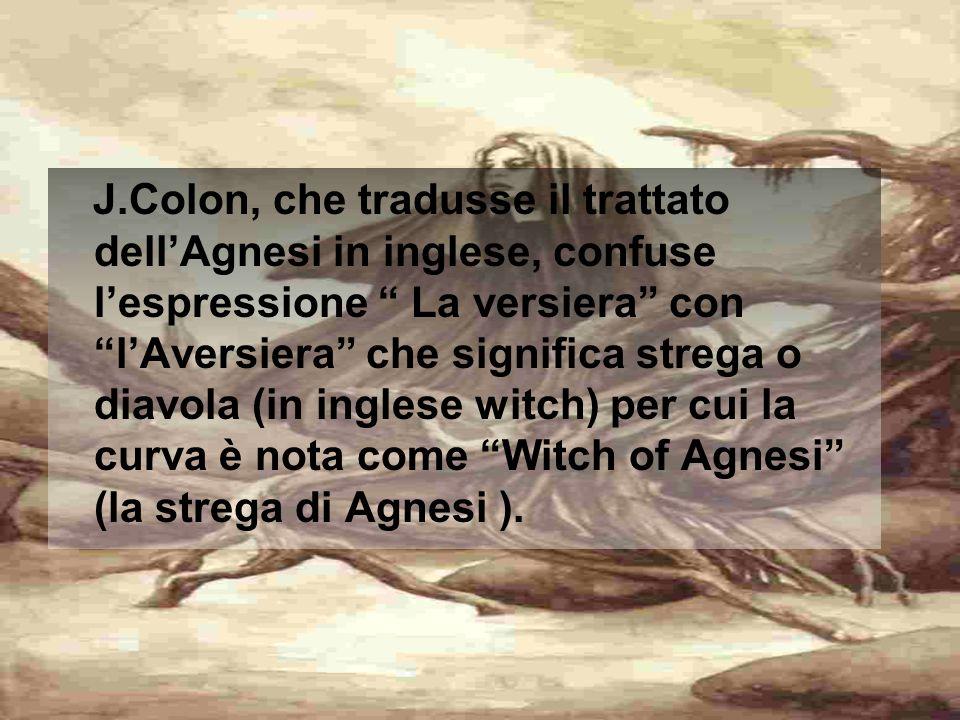 J.Colon, che tradusse il trattato dell'Agnesi in inglese, confuse l'espressione La versiera con l'Aversiera che significa strega o diavola (in inglese witch) per cui la curva è nota come Witch of Agnesi (la strega di Agnesi ).
