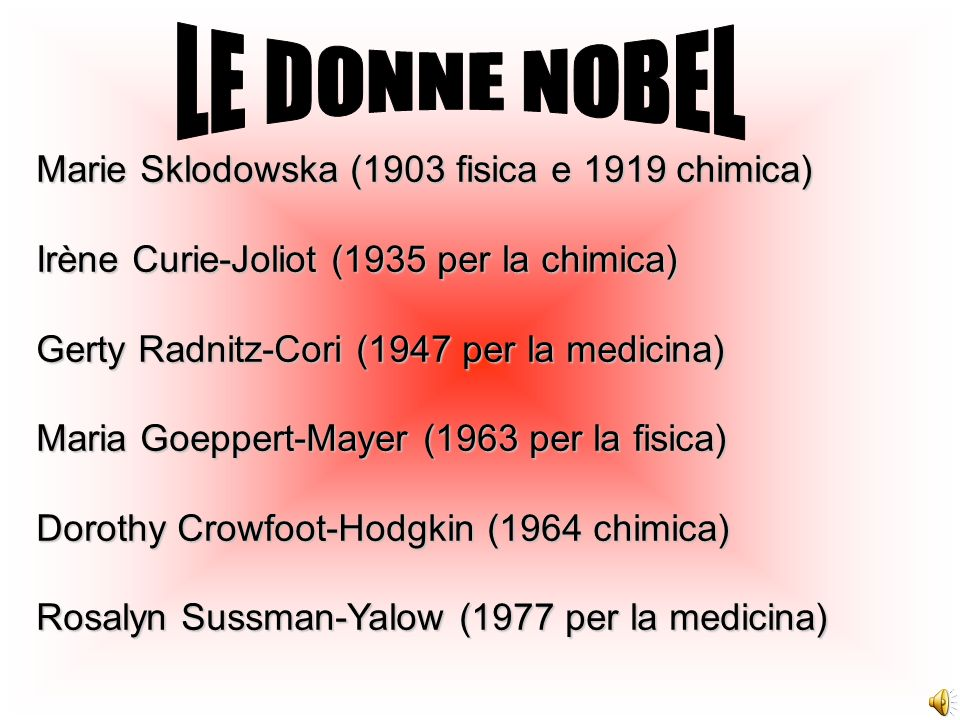LE DONNE NOBEL Marie Sklodowska (1903 fisica e 1919 chimica)