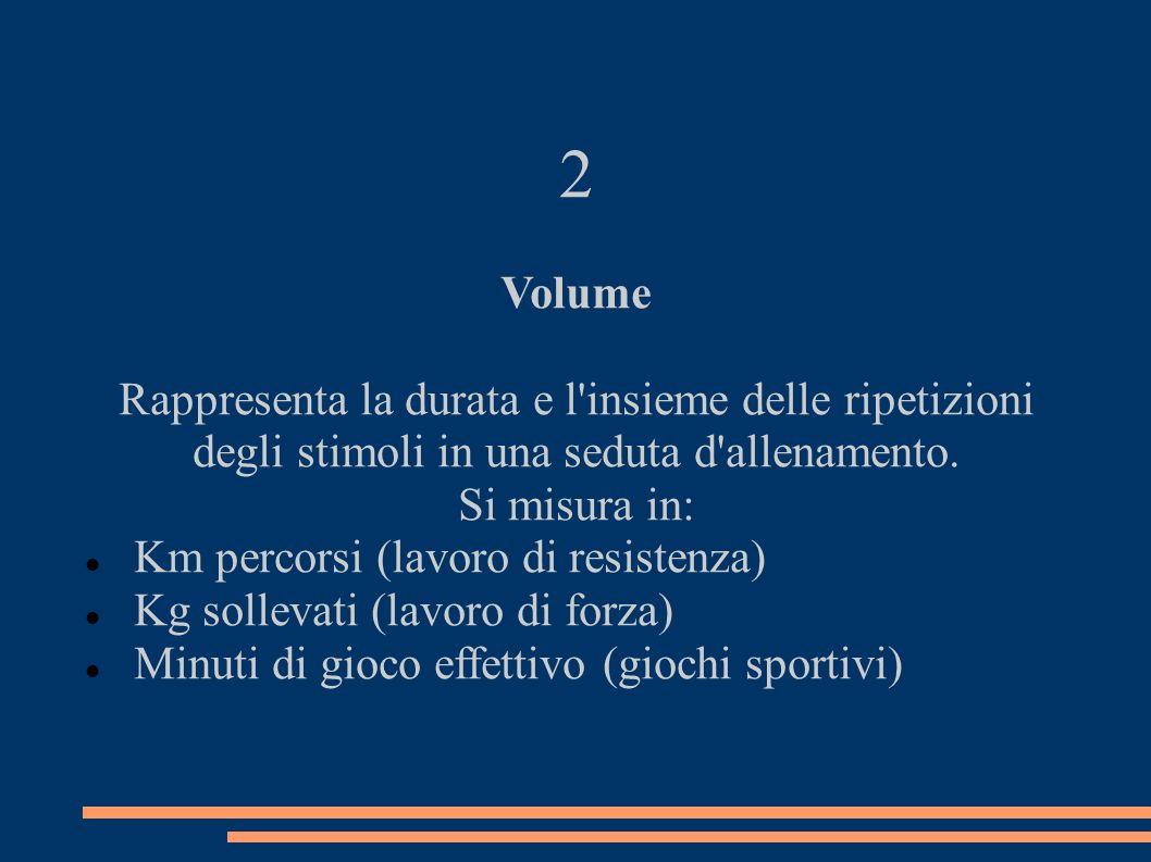 2 Volume Rappresenta la durata e l insieme delle ripetizioni