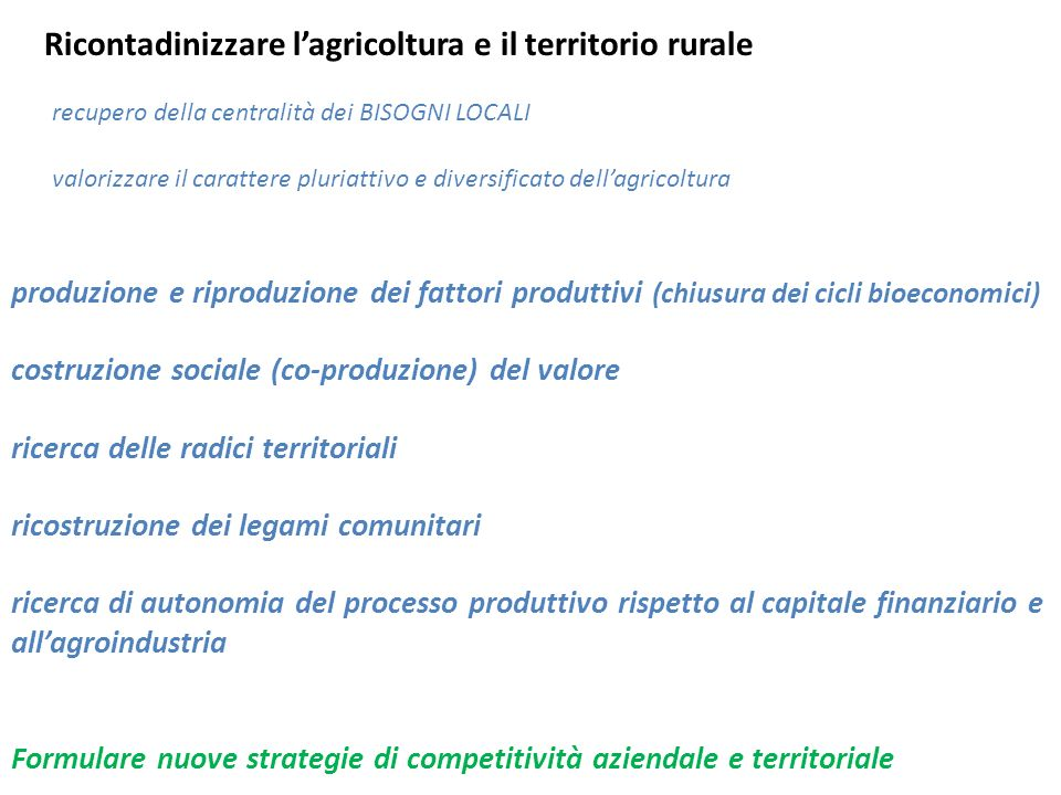 Ricontadinizzare l'agricoltura e il territorio rurale