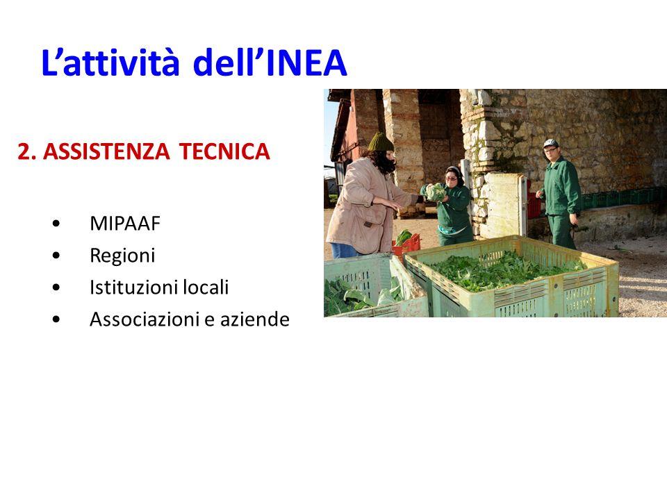 L'attività dell'INEA 2. ASSISTENZA TECNICA MIPAAF Regioni
