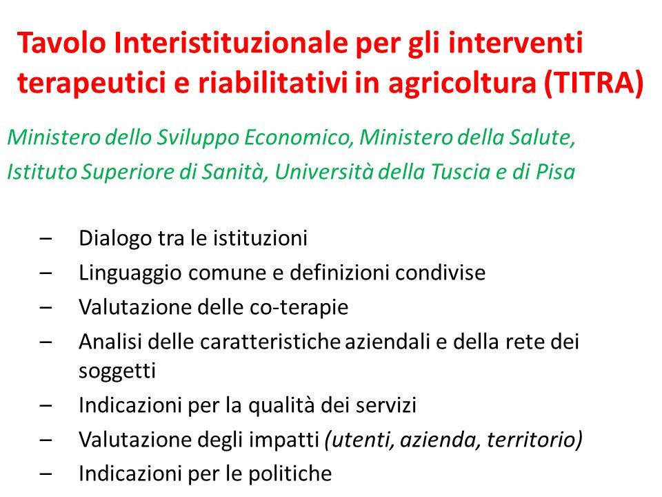 Tavolo Interistituzionale per gli interventi terapeutici e riabilitativi in agricoltura (TITRA)