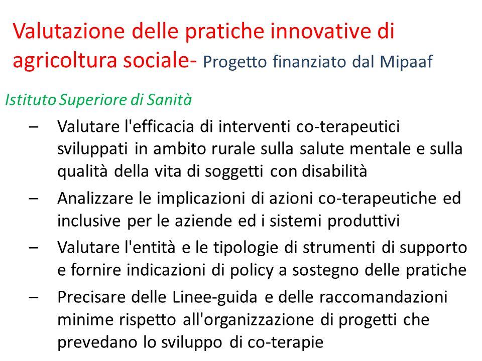 Valutazione delle pratiche innovative di agricoltura sociale- Progetto finanziato dal Mipaaf