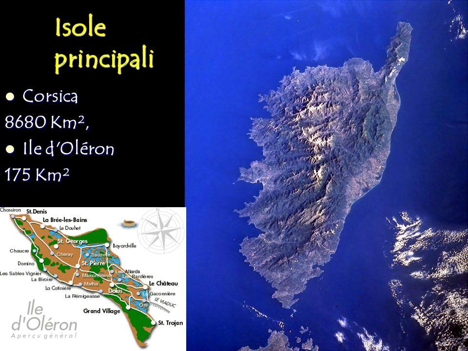 Isole principali Corsica 8680 Km², Ile d Oléron 175 Km²