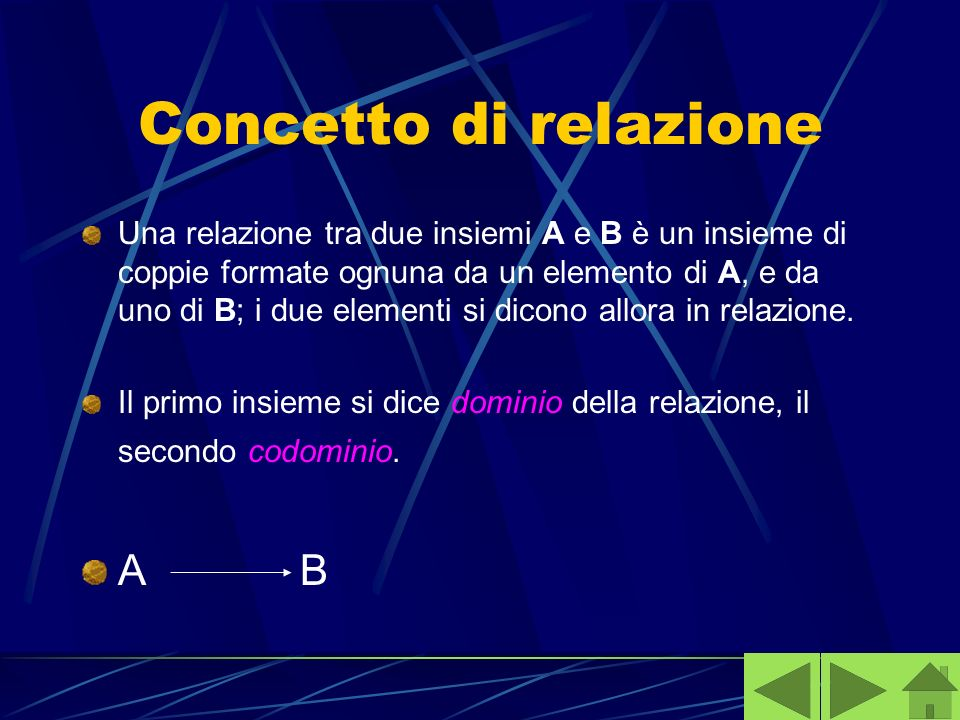 Concetto di relazione A B