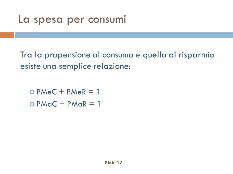 La spesa per consumi Tra la propensione al consumo e quella al risparmio esiste una semplice relazione: