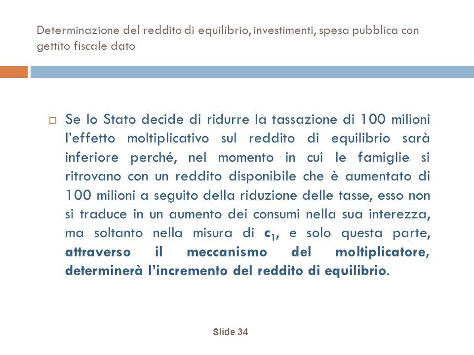 Determinazione del reddito di equilibrio, investimenti, spesa pubblica con gettito fiscale dato
