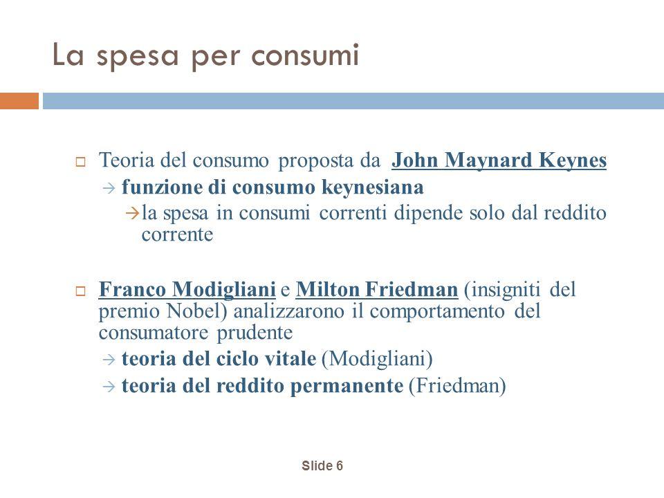 La spesa per consumi Teoria del consumo proposta da John Maynard Keynes. funzione di consumo keynesiana.