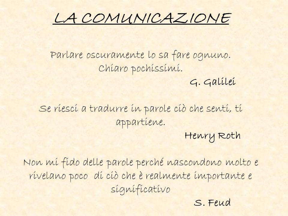 LA COMUNICAZIONE Parlare oscuramente lo sa fare ognuno