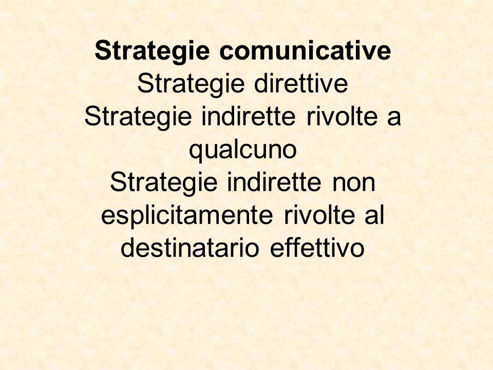 Strategie comunicative Strategie direttive Strategie indirette rivolte a qualcuno Strategie indirette non esplicitamente rivolte al destinatario effettivo