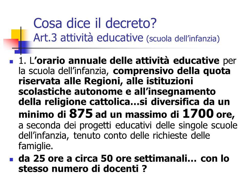 Cosa dice il decreto Art.3 attività educative (scuola dell'infanzia)
