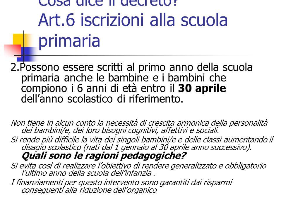 Cosa dice il decreto Art.6 iscrizioni alla scuola primaria