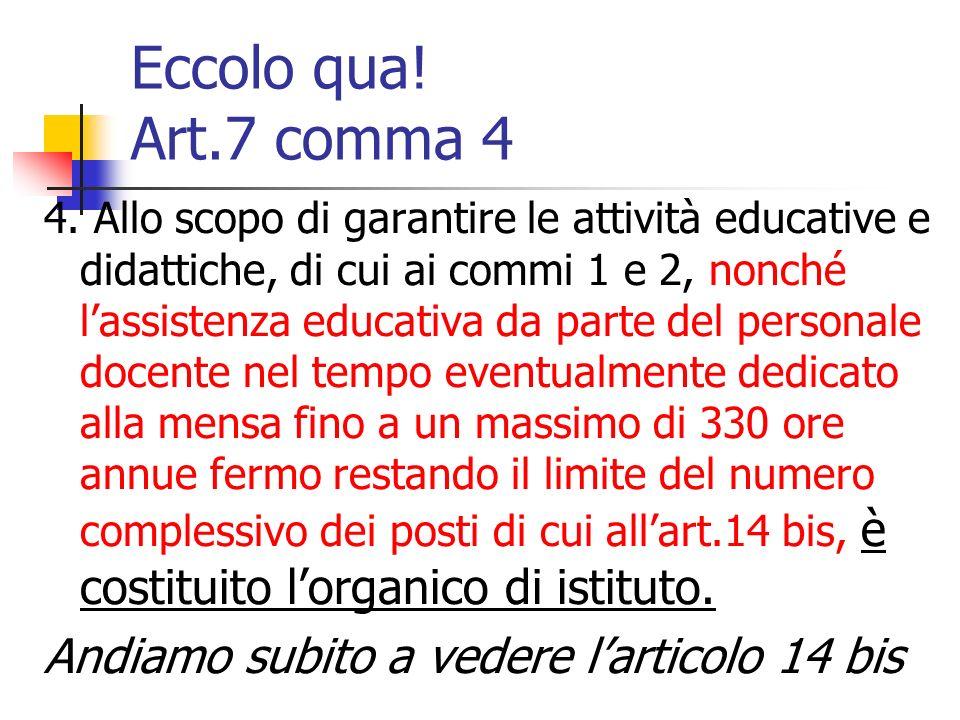 Eccolo qua! Art.7 comma 4 Andiamo subito a vedere l'articolo 14 bis