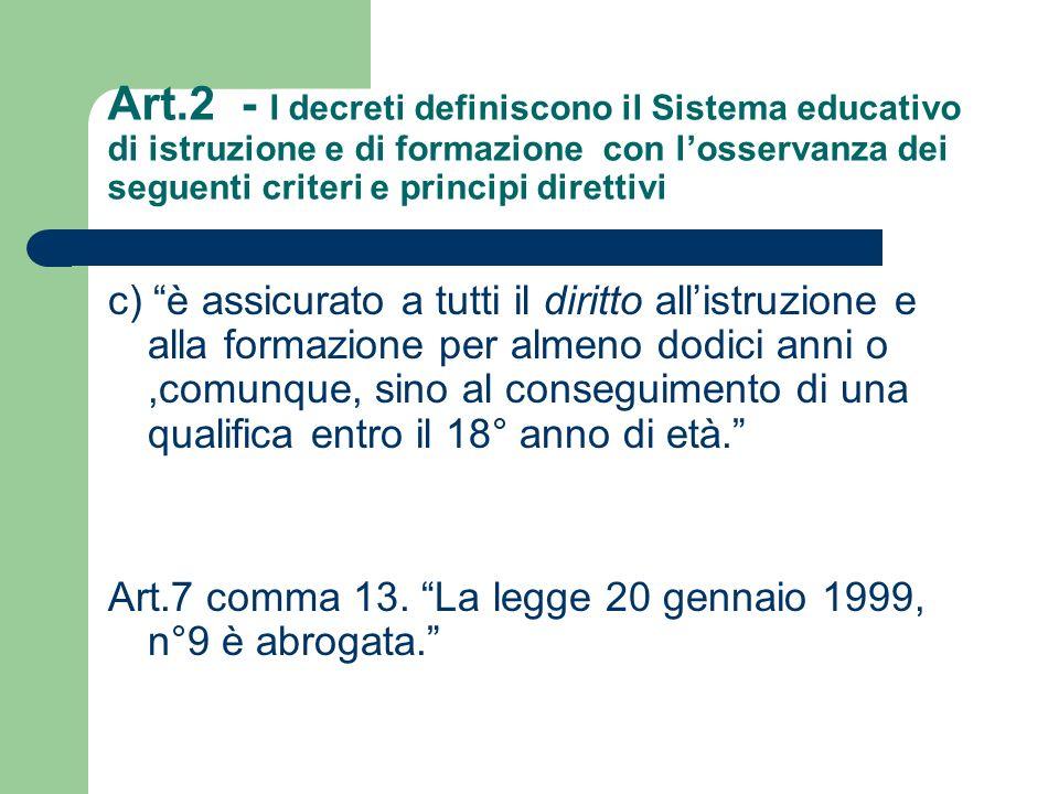 Art.2 - I decreti definiscono il Sistema educativo di istruzione e di formazione con l'osservanza dei seguenti criteri e principi direttivi