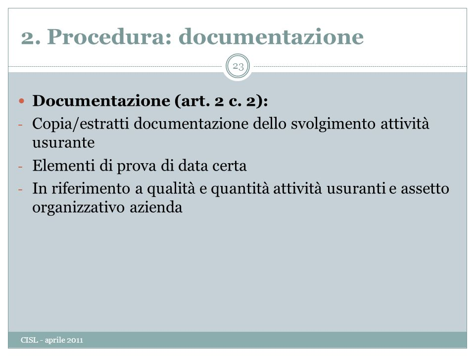 2. Procedura: documentazione