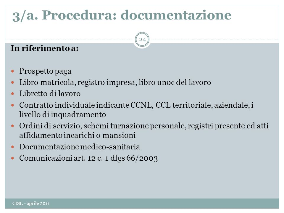 3/a. Procedura: documentazione