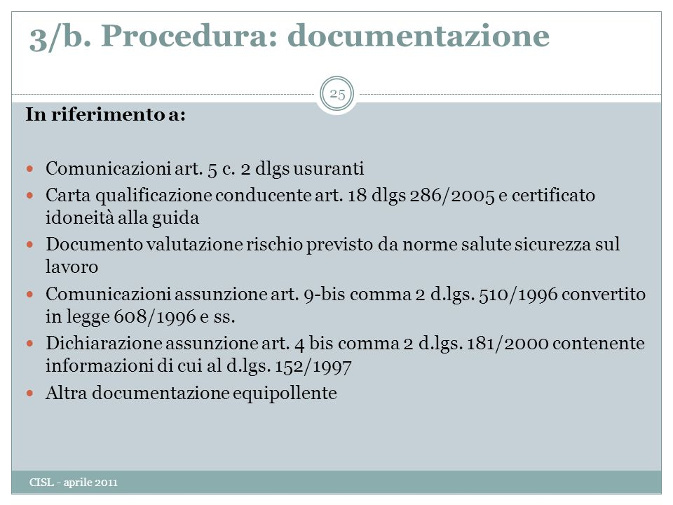 3/b. Procedura: documentazione