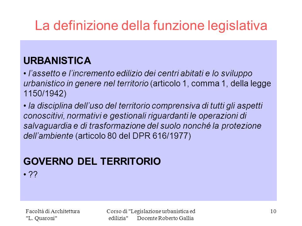 La definizione della funzione legislativa
