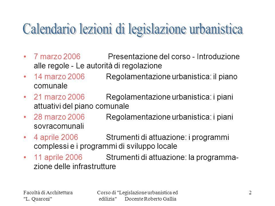 Calendario lezioni di legislazione urbanistica
