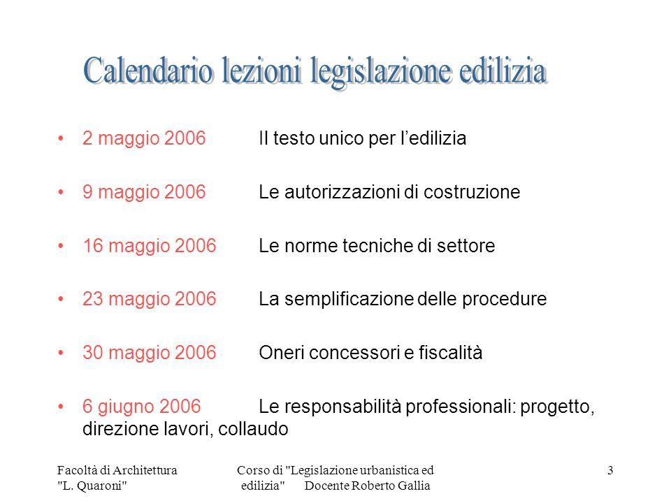Calendario lezioni legislazione edilizia
