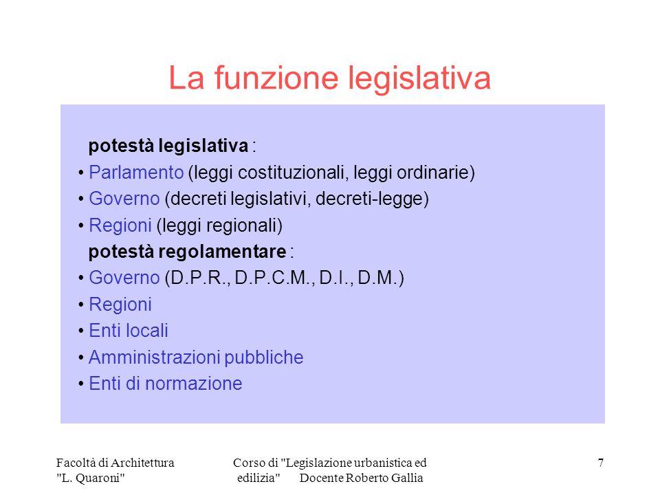La funzione legislativa