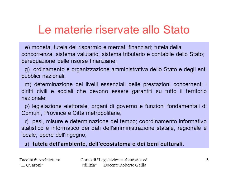 Le materie riservate allo Stato