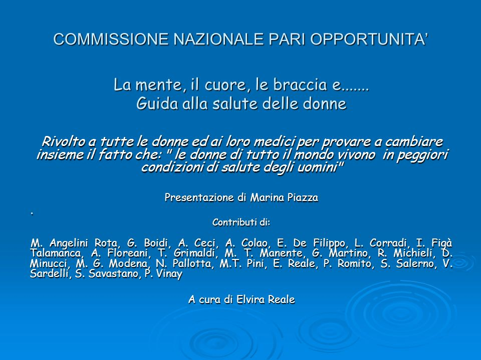 COMMISSIONE NAZIONALE PARI OPPORTUNITA'