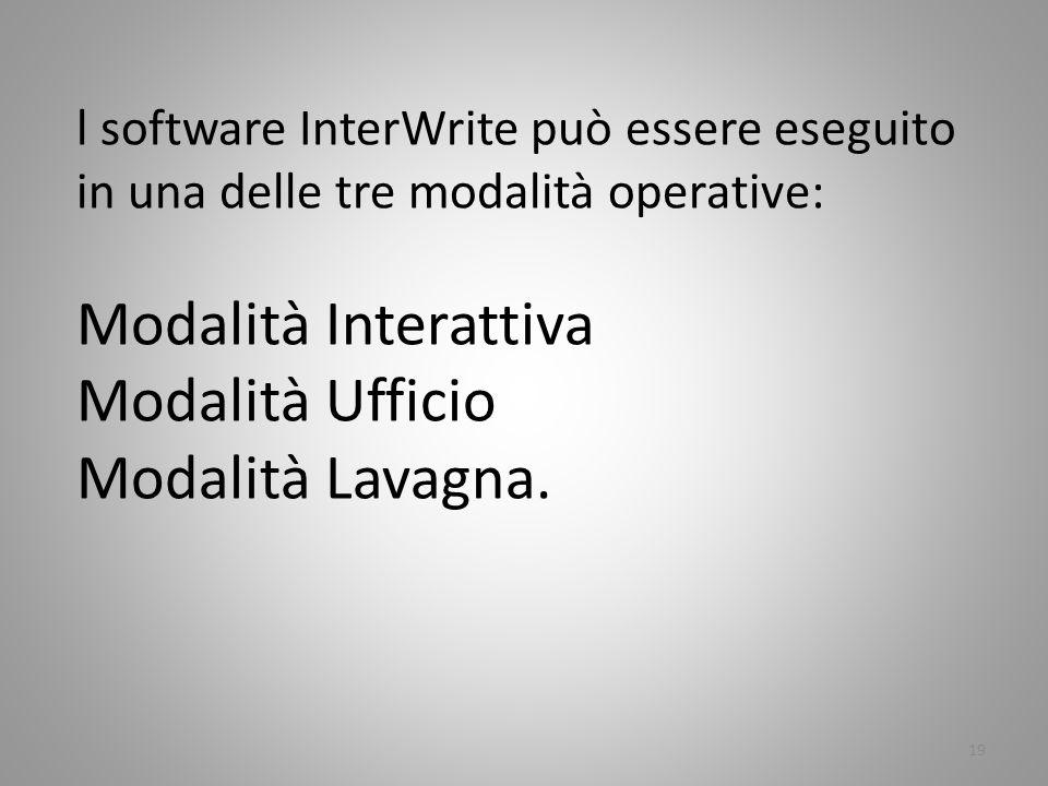 Modalità Interattiva Modalità Ufficio Modalità Lavagna.