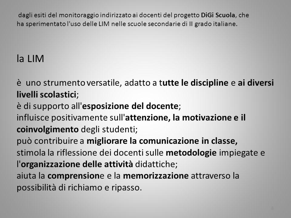 dagli esiti del monitoraggio indirizzato ai docenti del progetto DiGi Scuola, che ha sperimentato l uso delle LIM nelle scuole secondarie di II grado italiane.