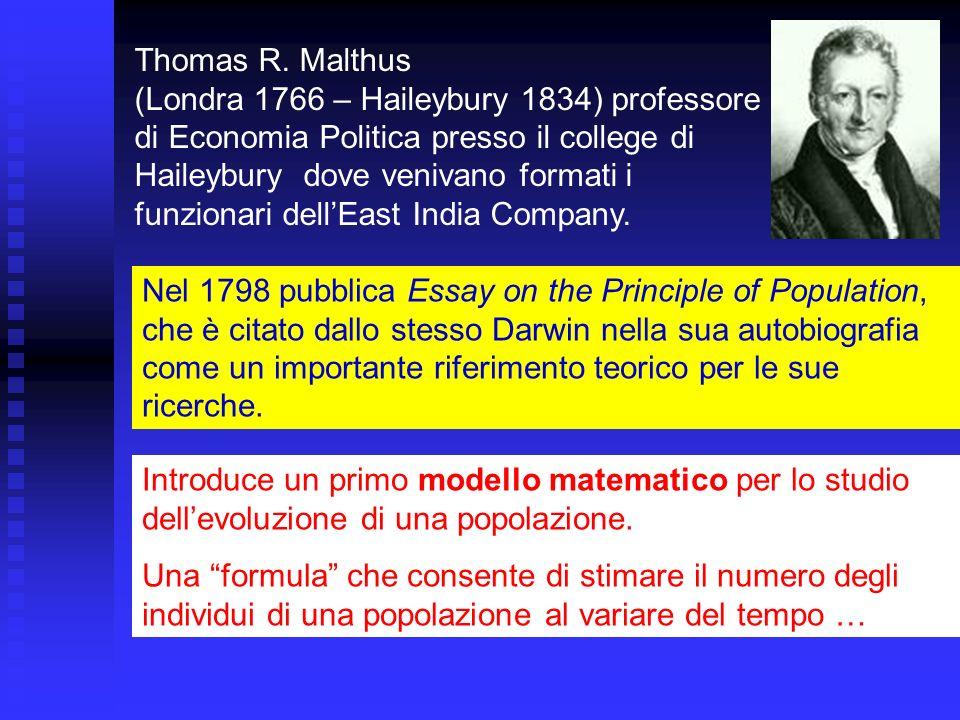 Thomas R. Malthus (Londra 1766 – Haileybury 1834) professore di Economia Politica presso il college di Haileybury dove venivano formati i funzionari dell'East India Company.