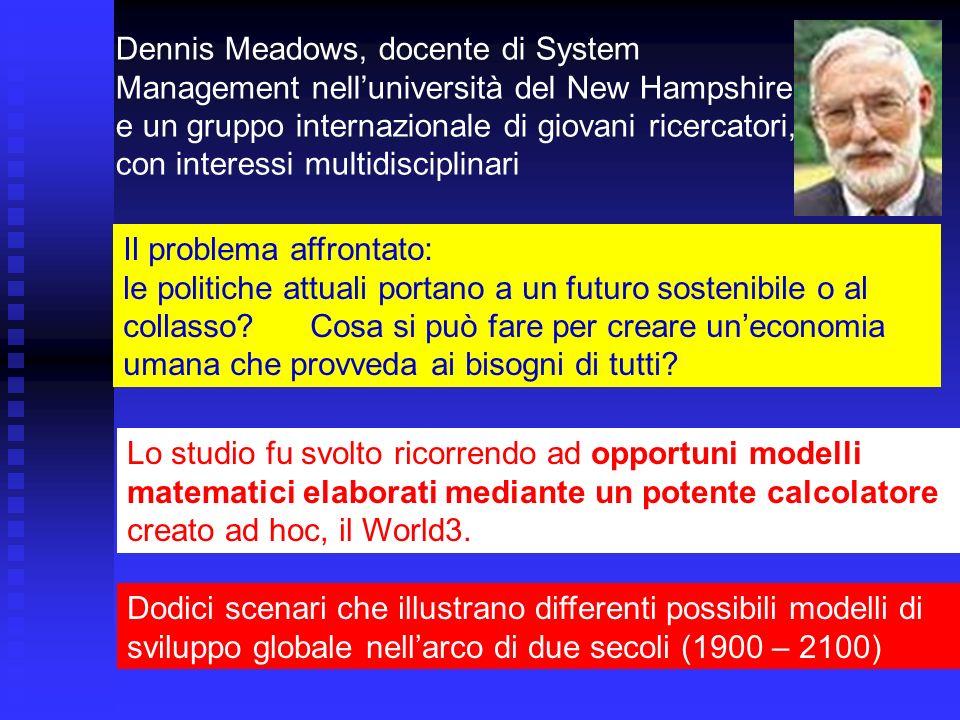 Dennis Meadows, docente di System Management nell'università del New Hampshire e un gruppo internazionale di giovani ricercatori, con interessi multidisciplinari