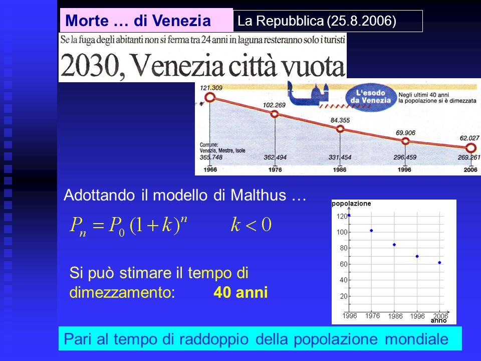 Adottando il modello di Malthus …
