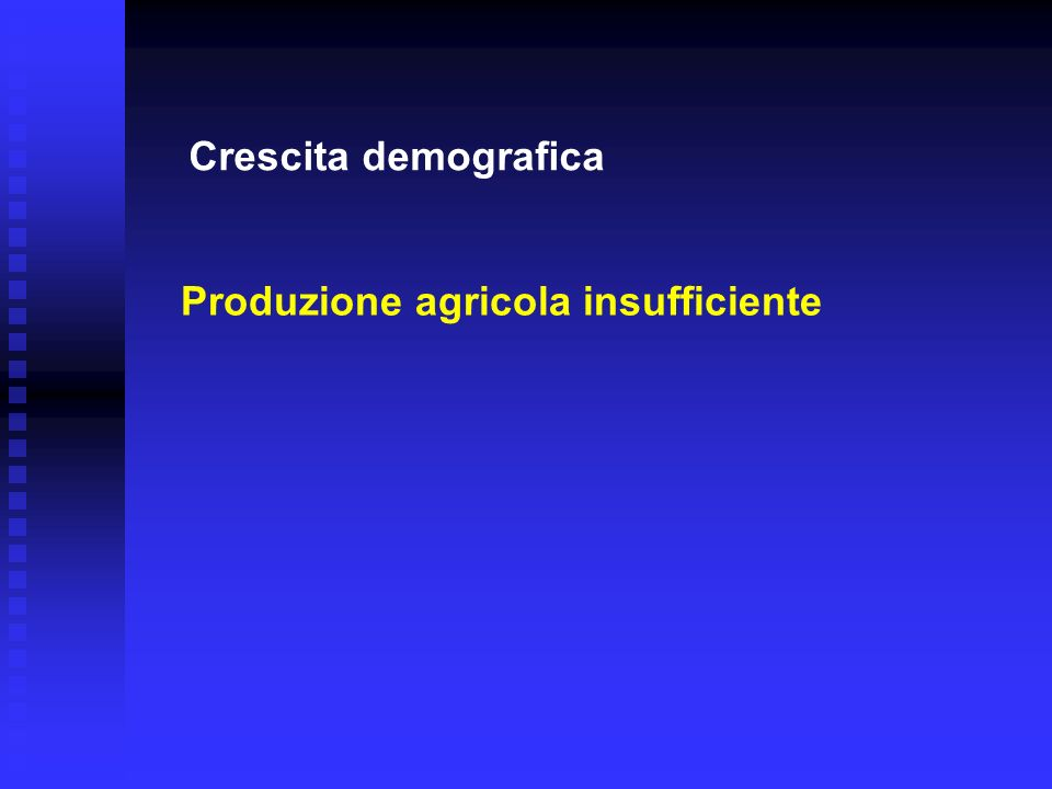 Crescita demografica Produzione agricola insufficiente