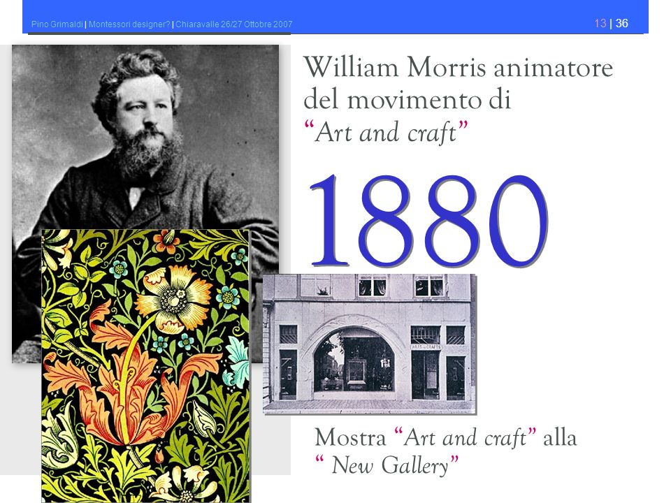 1880 William Morris animatore del movimento di Art and craft