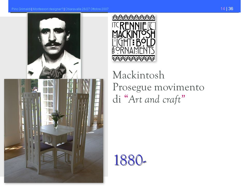 Mackintosh Prosegue movimento di Art and craft 1880-