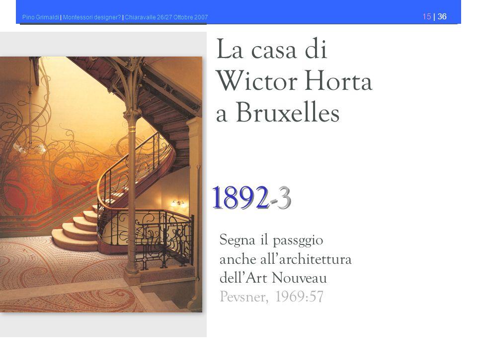 1892-3 La casa di Wictor Horta a Bruxelles Segna il passggio