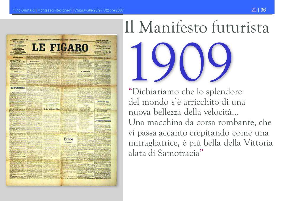 1909 Il Manifesto futurista Dichiariamo che lo splendore