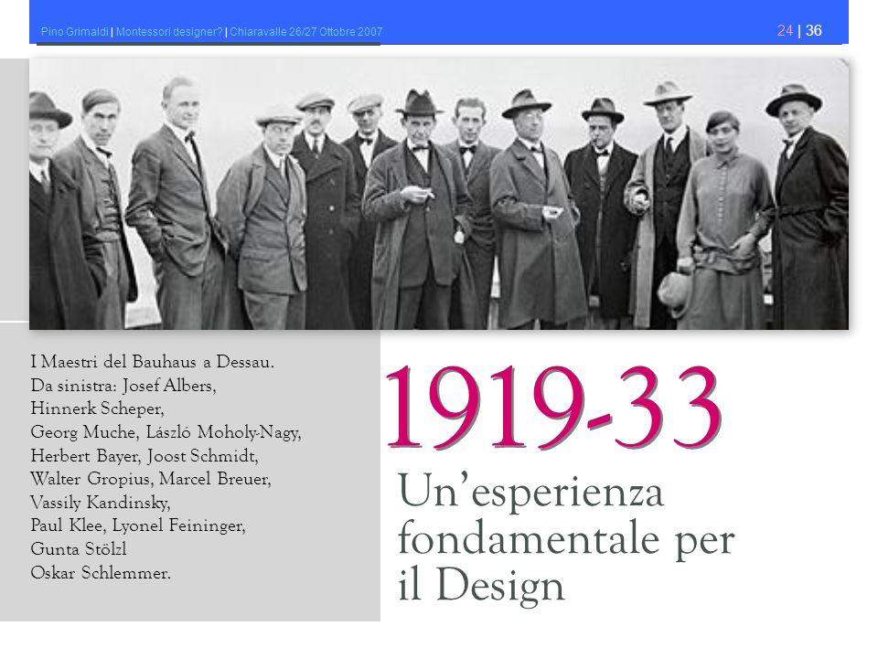 1919-33 Un'esperienza fondamentale per il Design