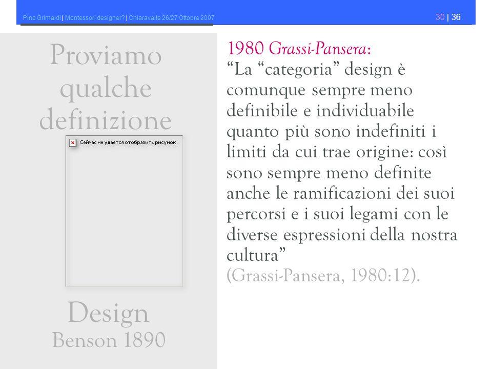 Proviamo qualche definizione Design Benson 1890 1980 Grassi-Pansera: