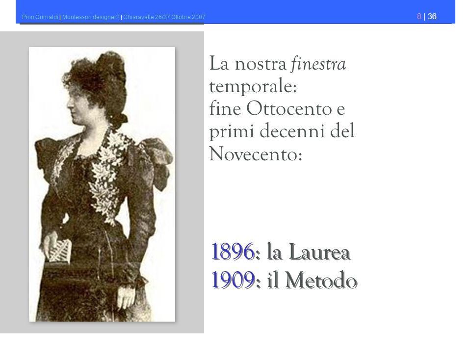 1896: la Laurea 1909: il Metodo La nostra finestra temporale: