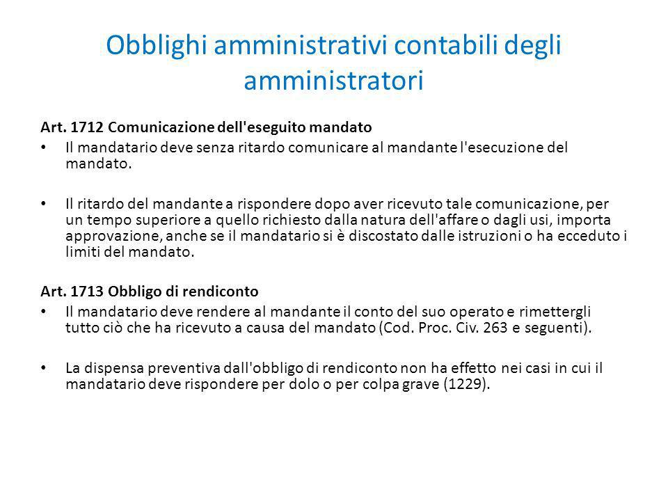 Obblighi amministrativi contabili degli amministratori